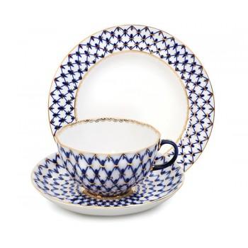 Чайная пара Кобальтовая сетка. Три предмета