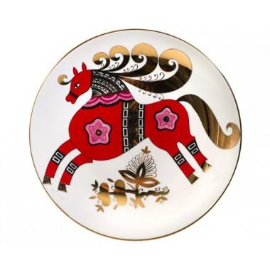 """Декоративная тарелка """"Красный конь"""""""