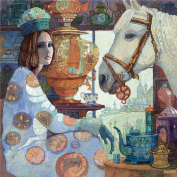 """Картина """"В гостях у белой лошади"""""""