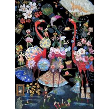 Картина Цветочная мода фламинго