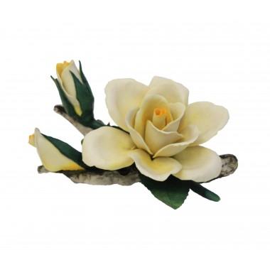 """Фарфоровый цветок """"Роза с двумя бутонами"""""""