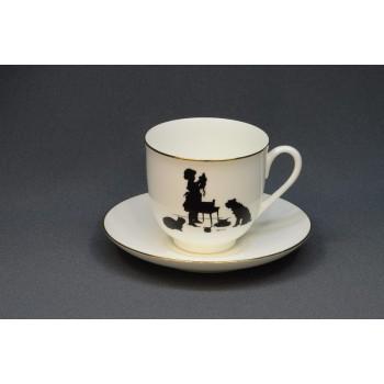 Чашка с блюдцем кофейная Силуэты. Помощница