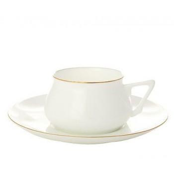 Чашка с блюдцем Золотой кантик
