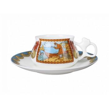 Кофейная чашка с блюдцем Сказка о рыбаке и рыбке