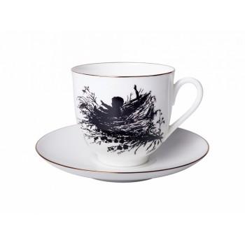 Чашка с блюдцем кофейная Силуэты. Гнездышко
