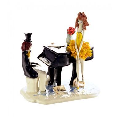 """Статуэтка """"Пианист и балерина в желтом"""""""