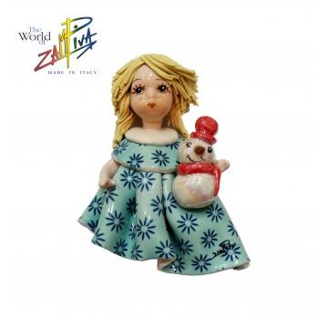Магнитик Девочка со снеговиком