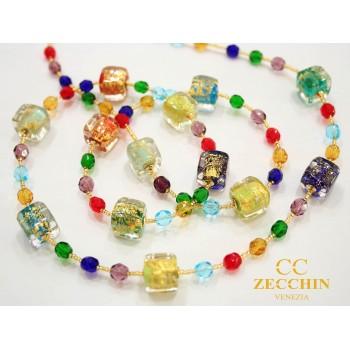 Ожерелье разноцветное из муранского стекла