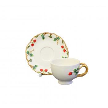 Чашка с блюдцем Земляничка