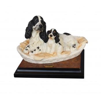 Скульптура Кокер-спаниели в корзинке