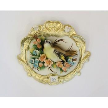 Фарфоровое панно с птицей