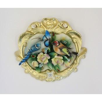 Фарфоровое панно  с птицами