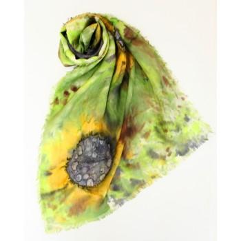 Шелковый шарф батик Подсолнухи