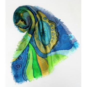 Шелковый шарф батик Морская фантазия