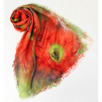Шелковый шарф батик Маковое поле