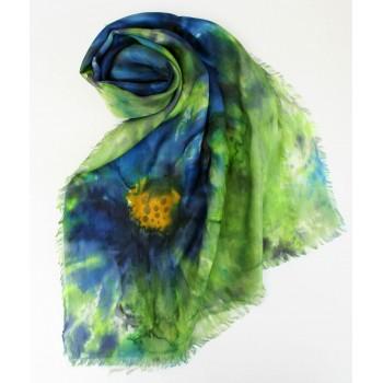 Шелковый шарф батик Клематис