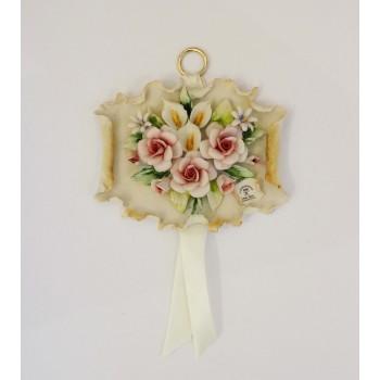 Фарфоровое панно с композицией из цветов