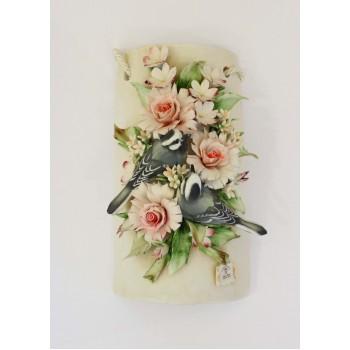 Фарфоровое панно с птицами в цветах
