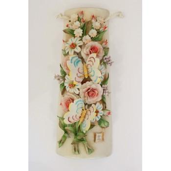 Фарфоровое панно с бабочками на цветах